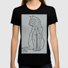 gray geometric cat T-shirt