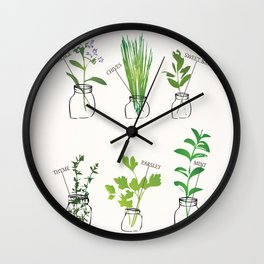 Mason Jar Herbs Wall Clock