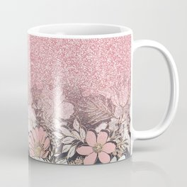 Elegant Gold floral and pink Gradient Glitter Image Coffee Mug