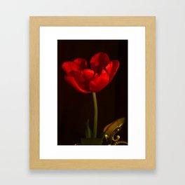 Red Tulip Antique Look Framed Art Print