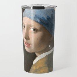Johannes Vermeer - Girl with the pearl earring (1665) Travel Mug