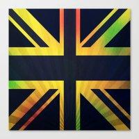 british flag Canvas Prints featuring RASTA BRITISH FLAG by shannon's art space