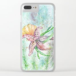 Starfish Watercolor Art Illustration Clear iPhone Case