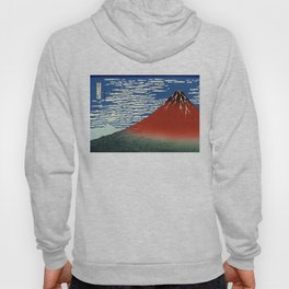 """Hokusai (1760–1849) """"Fuji, Mountains in clear Weather (South Wind, Clear Sky)(Red Fuji)"""" Hoody"""