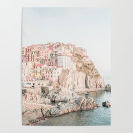 Positano, Italy Amalfi coast pink-peach-white travel photography in hd Poster