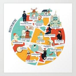 Montmartre Illustrated Map Art Print