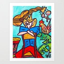 MI GALLO Y YO Art Print