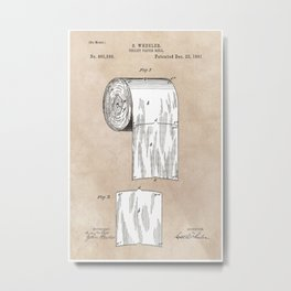 Toilet Paper patent art Metal Print