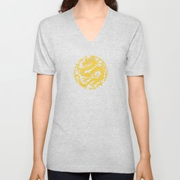 Traditional Yellow and Red Chinese Dragon Circle Unisex V-Neck