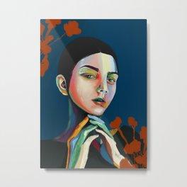 Girl and flowers Metal Print