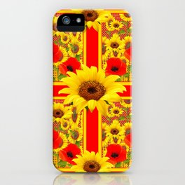 YELLOW SUNFLOWERS RED POPPIES DECO ART iPhone Case