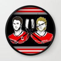 blackhawks Wall Clocks featuring Toews & Kane by Kana Aiysoublood