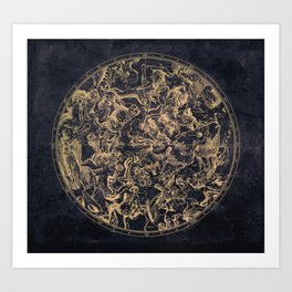 Vintage Constellations & Astrological Signs | Yellowed Ink & Cosmic Colour Art Print