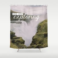 never stop exploring Shower Curtains featuring Gullfoss, Iceland - Never Stop Exploring by Chelle Wootten