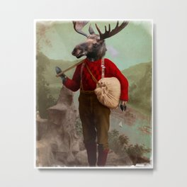 Lumberjack Marvin Moose Metal Print