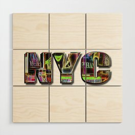 NYC (typography) Wood Wall Art