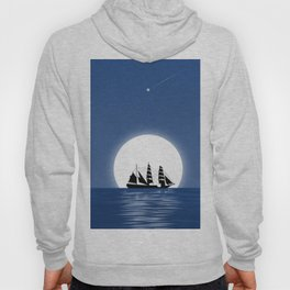 Sailing with Full Moon and Shooting Star Hoody