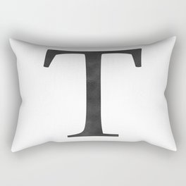 Letter T Initial Monogram Black and White Rectangular Pillow