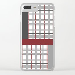 Grey Red Burgundy Checkered Gingham Patchwork Color Canvas Clear iPhone Case