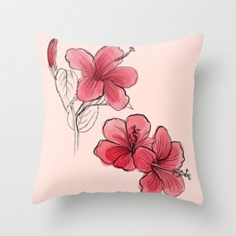 Hibiscus Flower Print Throw Pillow