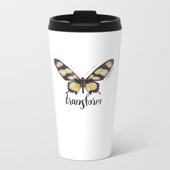 Butterfly Painting | Hahnel's Amazonian Swallowtail | PARIDES HAHNELI | Nature | Animal Art Metal Travel Mug
