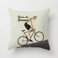 tour de france Throw Pillows featuring Tour De France by Wyatt Design
