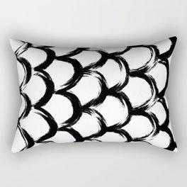 Black and White Scaled Brush Strokes Pattern Print Minimal Minimalism Rectangular Pillow