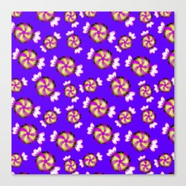 Cute lovely sweet decorative caramel toffee candy in shiny wrappers seamless pattern. Candy store. Canvas Print