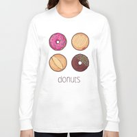donuts Long Sleeve T-shirts featuring Donuts by Monstruonauta