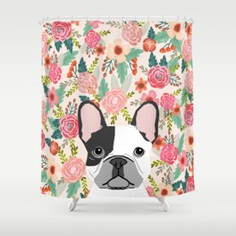 French Bulldog  floral dog head cute frenchies must have pure breed dog gifts Shower Curtain