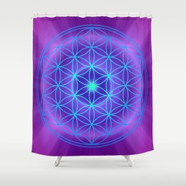 Flower Of Life Mandala - Blue Purple Shower Curtain