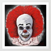 pennywise Art Prints featuring Pennywise by mark lawson5