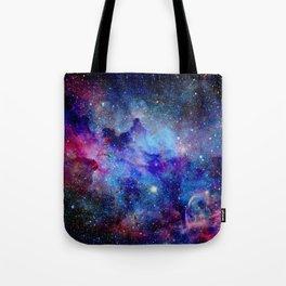 Blue Glitter Galaxy Tote Bag