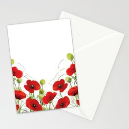 Poppies Flower Field red with background Stationery Cards
