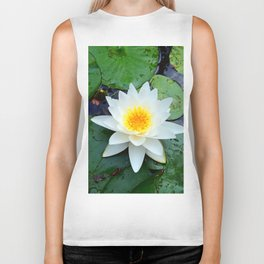 Bright White Lily with Yellow center Biker Tank