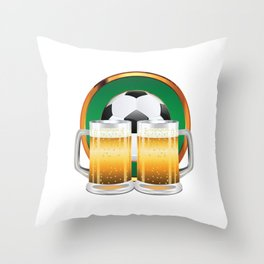 Beer glasses and Soccer Ball in green circle Throw Pillow