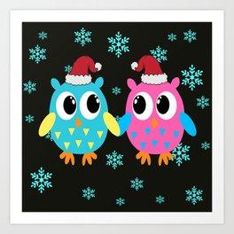 Xmas Owls in the Snow Art Print