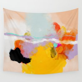yellow blush abstract Wall Tapestry