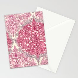Happy Place Doodle in Berry Pink, Cream & Mauve Stationery Cards