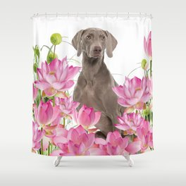 Weimaraner Lotos Flowers Shower Curtain