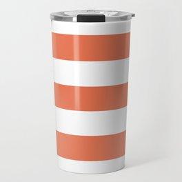 Burnt sienna - solid color - white stripes pattern Travel Mug