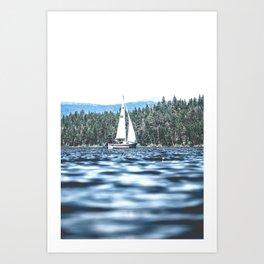 Calm Lake Sailboat Art Print