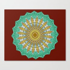 Lovely Healing Mandala  in Brilliant Colors: Burnt Orange, Green, Wheat, Gray, and White Canvas Print