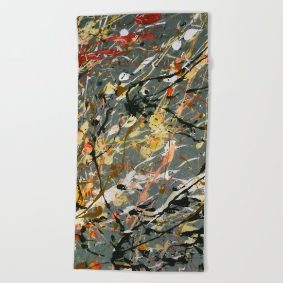 Jackson Pollock Interpretation Acrylics On Canvas Splash Drip Action Painting Beach Towel