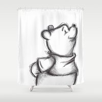 pooh Shower Curtains featuring Insightful Pooh by Makayla Wilkerson