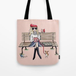 Margaux and her dog at the park Tote Bag