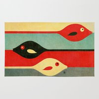 ursula Area & Throw Rugs featuring Three Fish in My Mind by Fernando Vieira