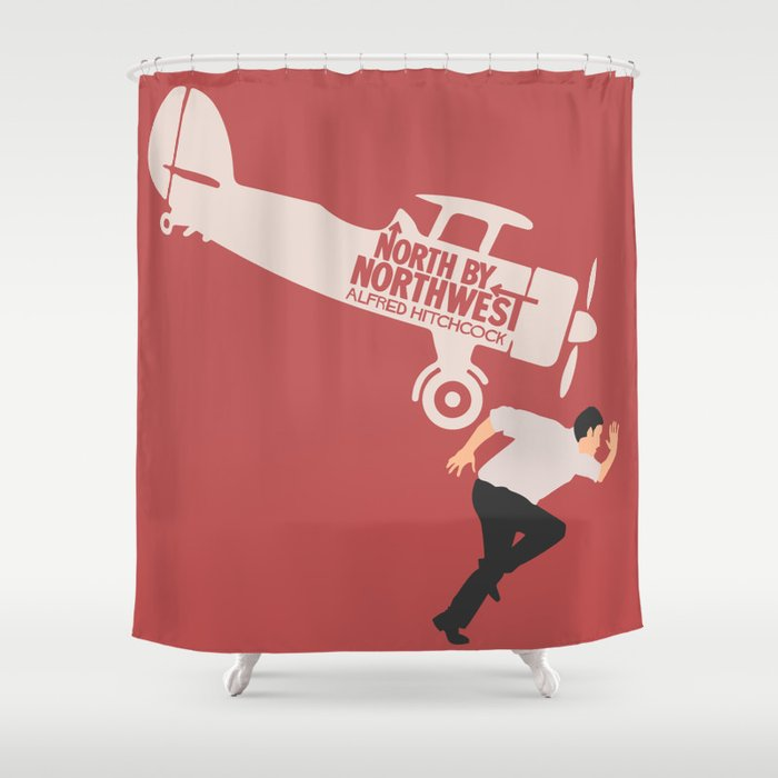 North By Northwest Alfred Hitchcock Minimalist Movie Poster Thriller Cary Grant Eva Marie Saint Shower Curtain Stefanoreves
