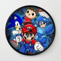 super smash bros Wall Clocks featuring Super Smash Bros  by Blaze-chan