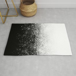 fading paint drops - black and white - spray painted color splash Rug